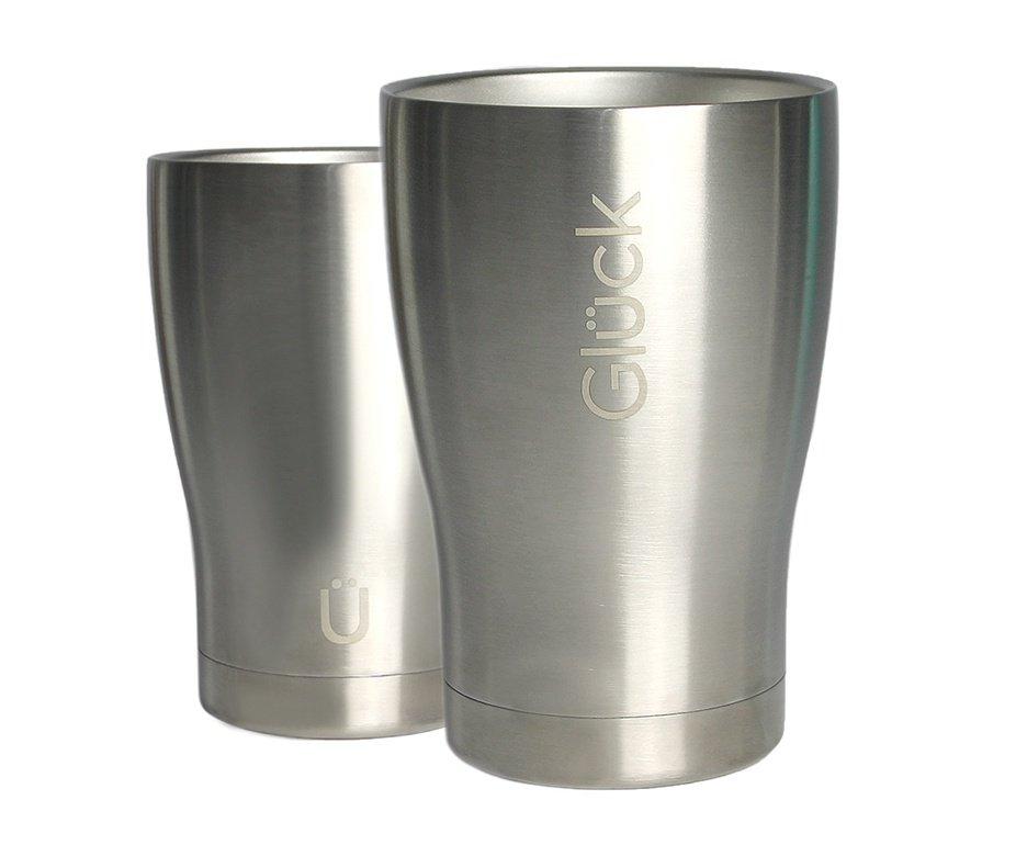 Copo Térmico Gluck Tulipinha Cerveja 354ml Silver Steel