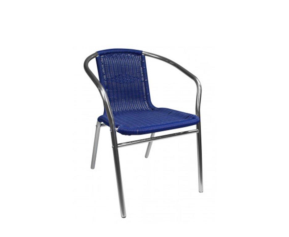 Poltrona Cadeira Mor Alumínio Rattan Azul