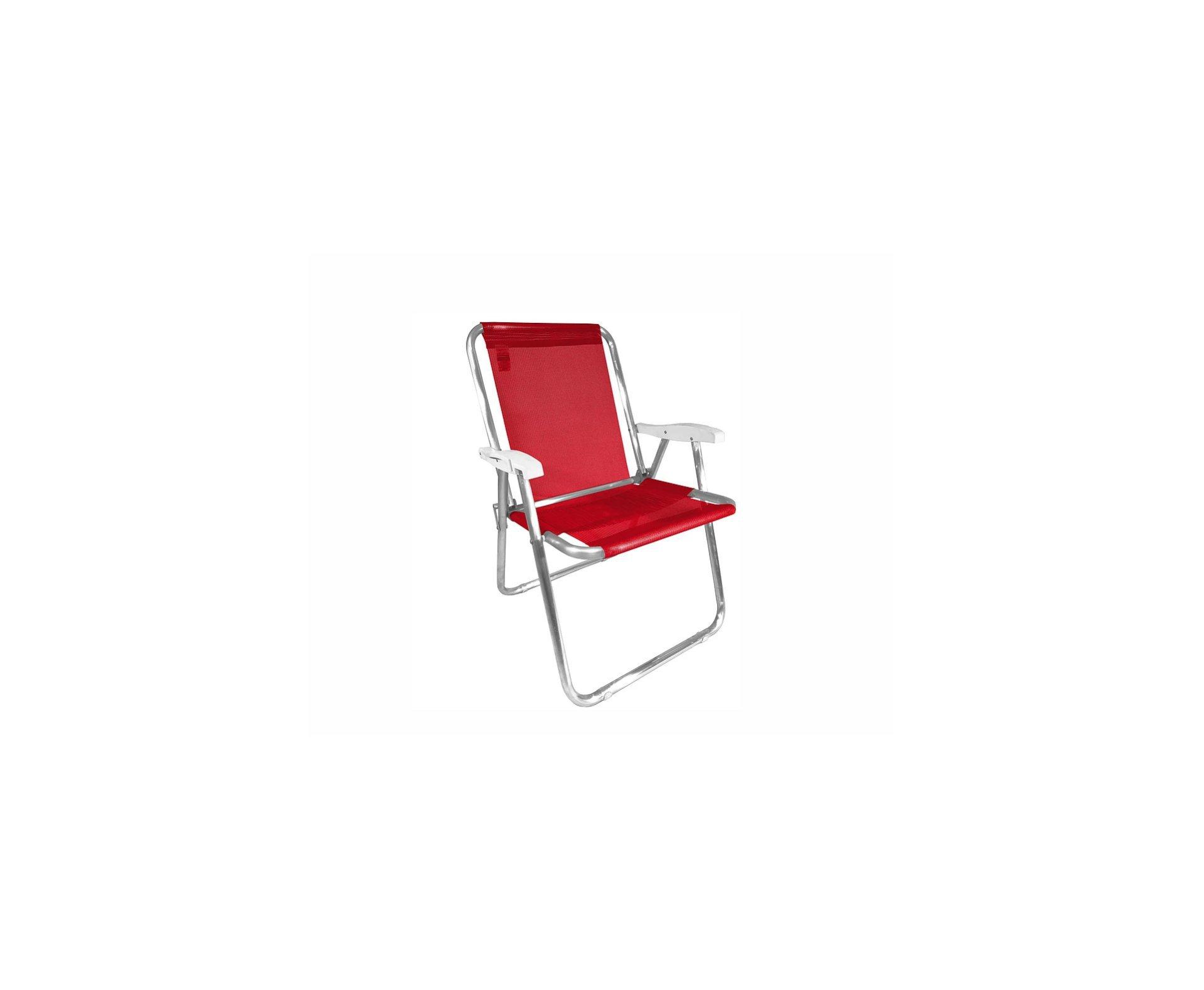 Cadeira Zaka Max Alumínio Vermelha Capacidade 140kg