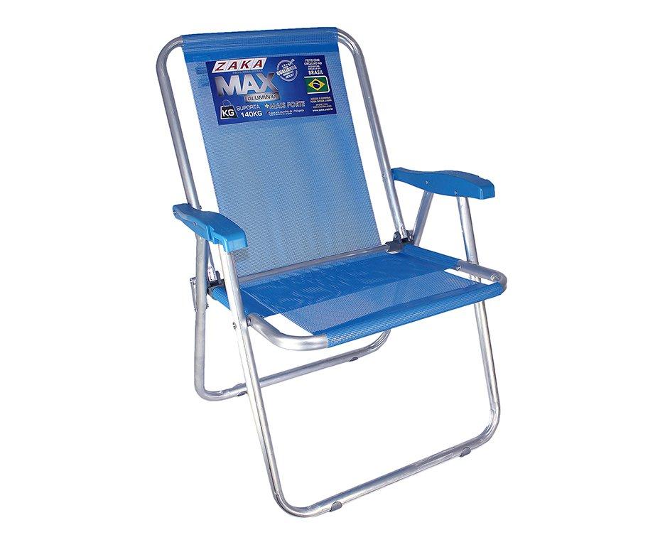 Cadeira Zaka Max Aluminio Azul Capacidade 140kg