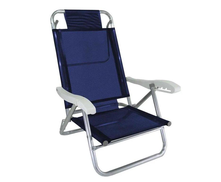 Cadeira Praia Em Aluminio Banho De Sol Marinho - Zaka