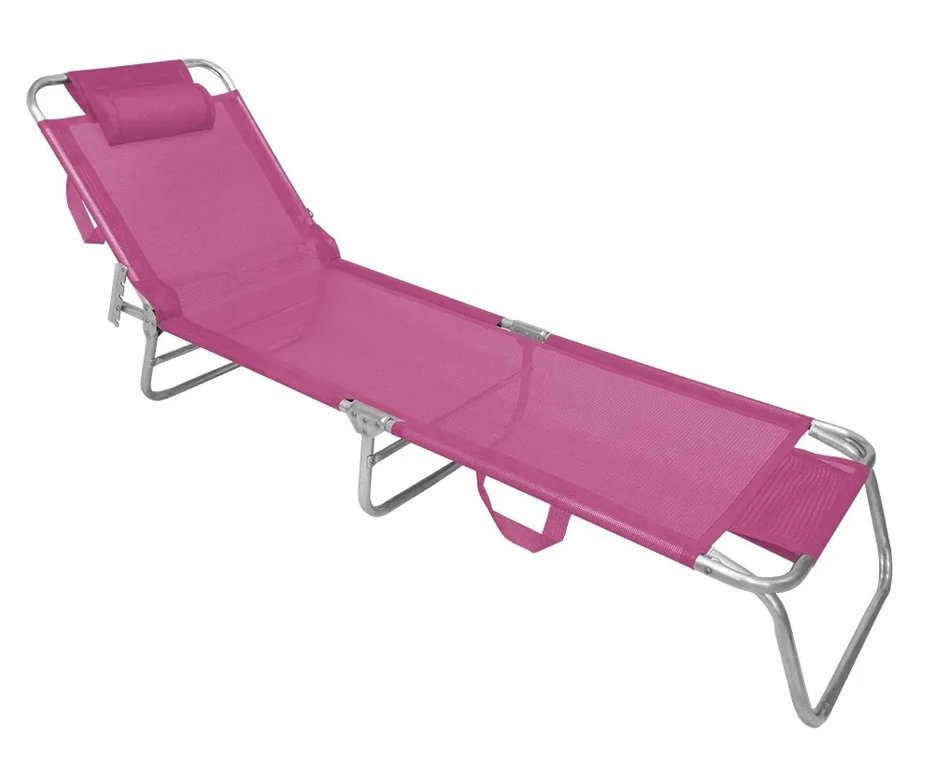 Espreguiçadeira Aluminio Slim Capacidade 100kg Pink Zaka