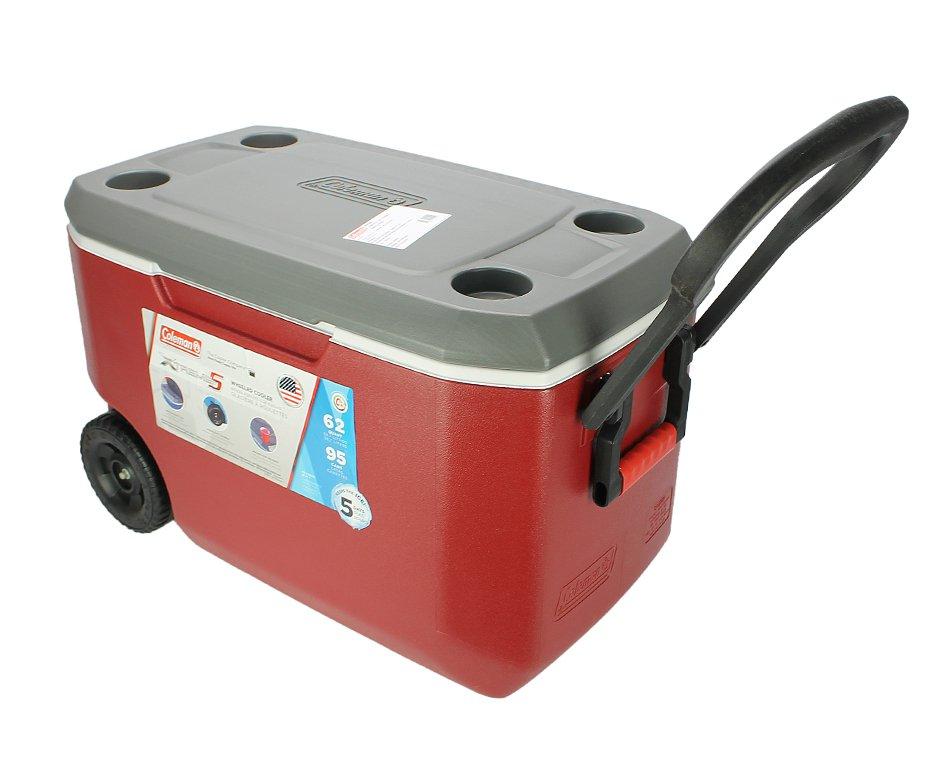 Caixa Térmica Coleman 62qt/58l Xtreme 5 Wheeled Cooler Vermelha Com Rodas