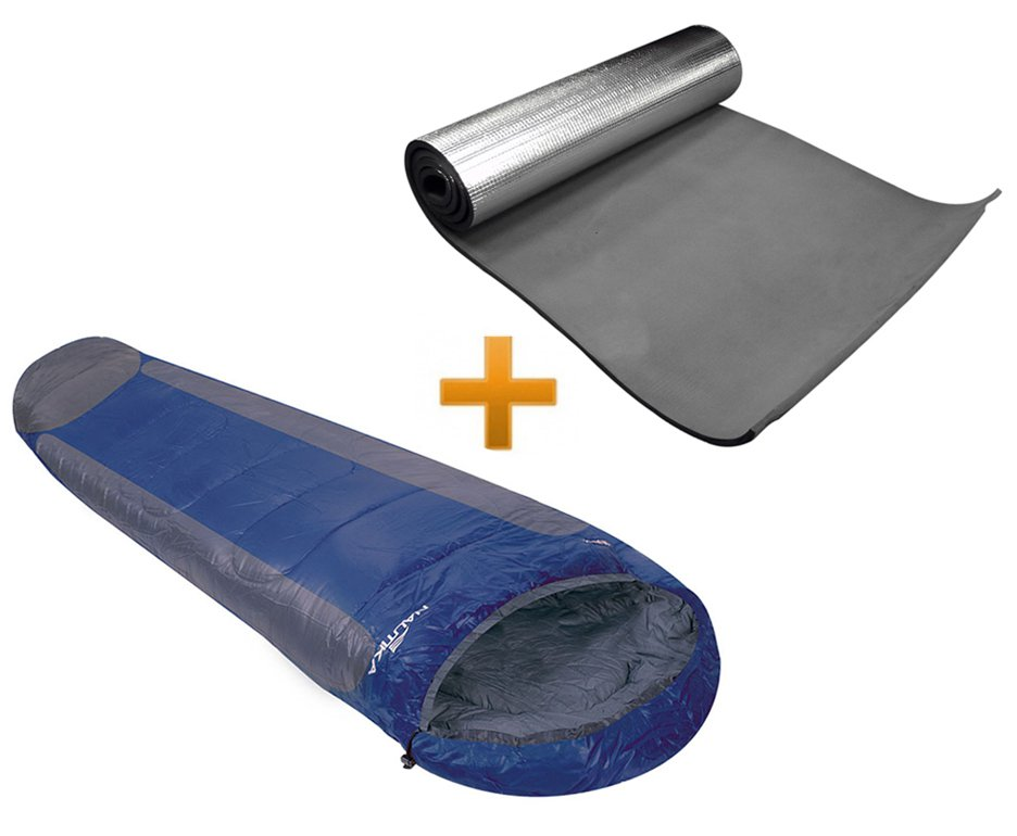 Saco De Dormir Mummy -1°c A +8°c Azul E Cinza - Nautika + Isolante Termico