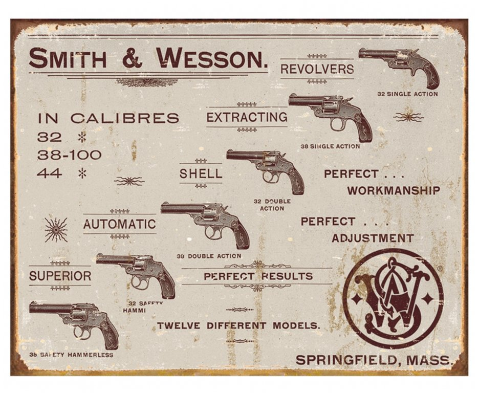 Placa Metálica Decorativa Smith & Wesson Revolvers - Rossi