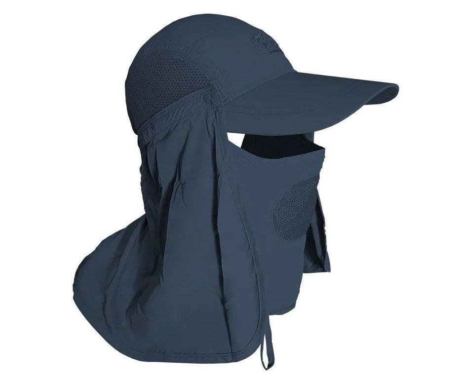 Boné Com Proteção De Pescoço E Rosto Azul Escuro Uv - Albatroz