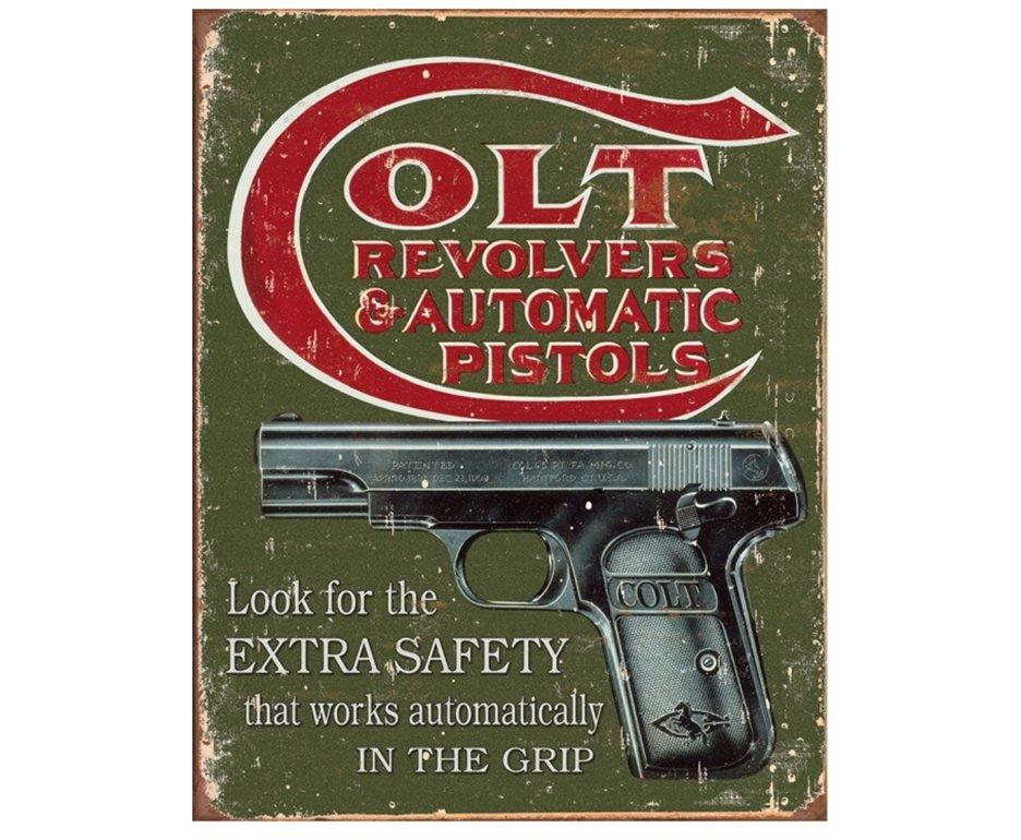 Placa Metálica Decorativa Colt Pistols - Rossi