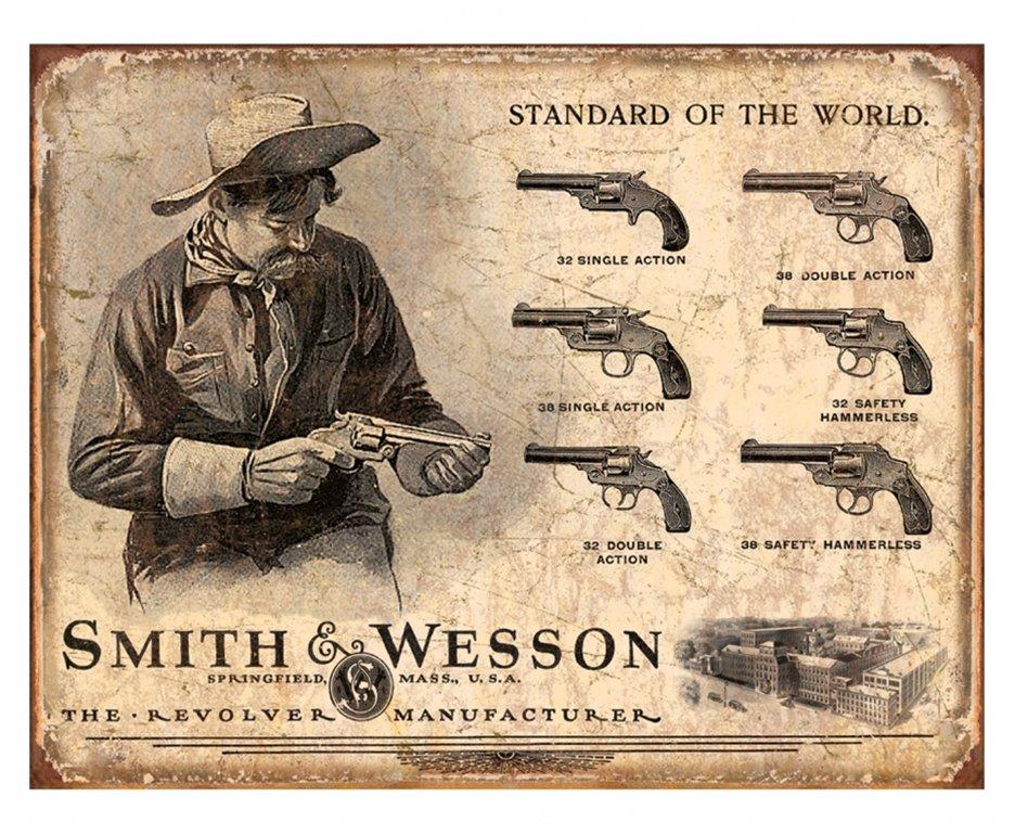 Placa Metálica Decorativa Smith & Wesson Revolver Manufacturer - Rossi