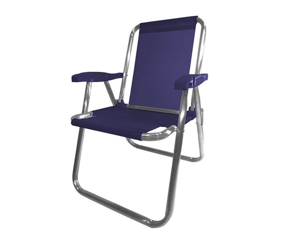 Cadeira Praia Aluminio Zaka Plus Azul Marinho Capacidade 100kg