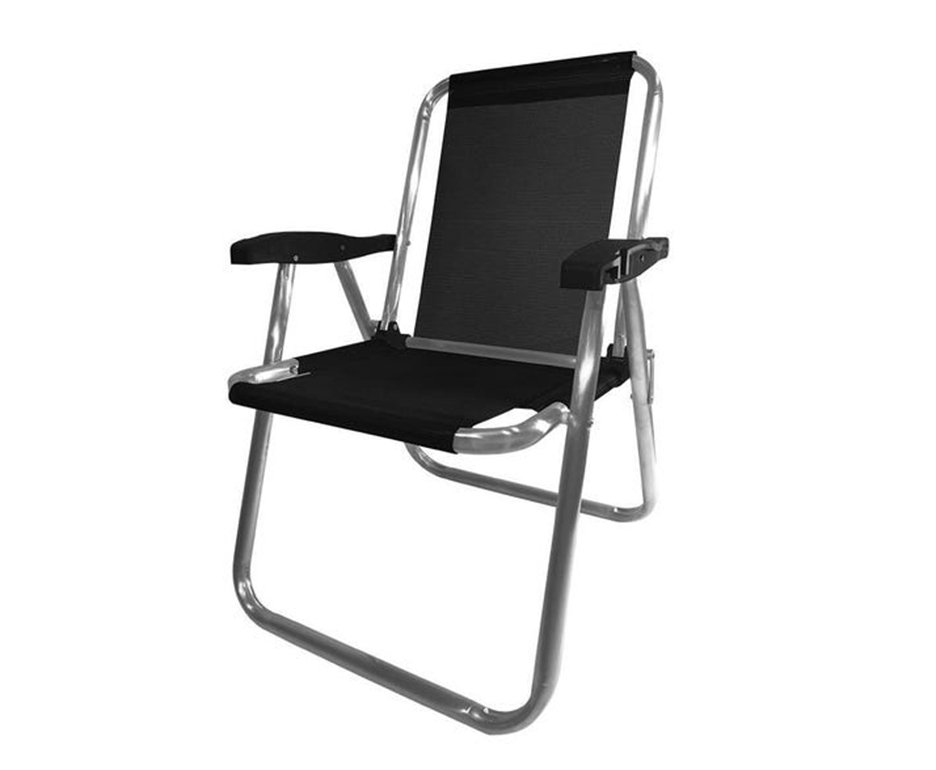 Cadeira Praia Aluminio Zaka Plus Preta Capacidade 100kg