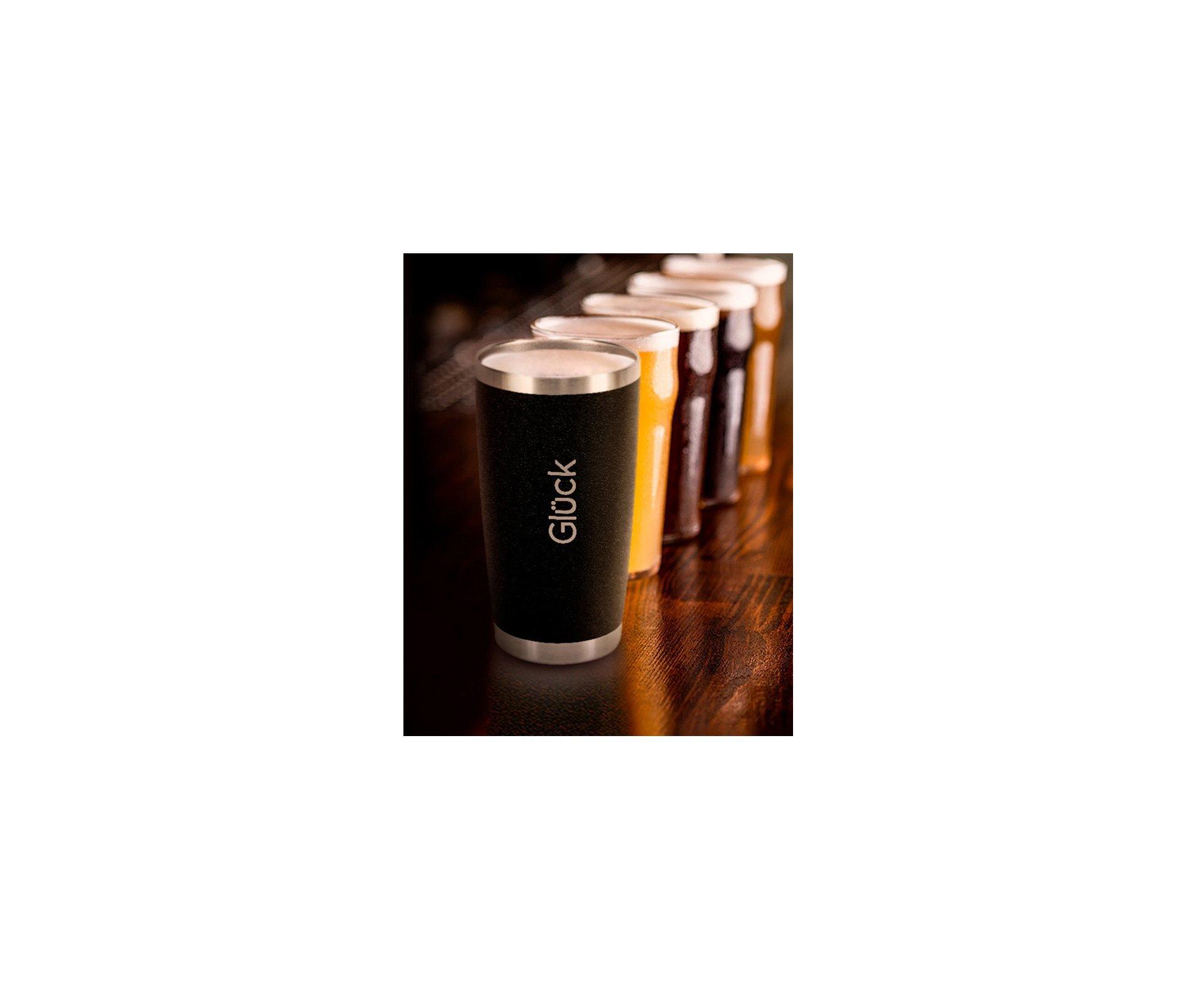 Copo Térmico Para Cerveja Lucky 591ml Inox Hammer Black - Gluck