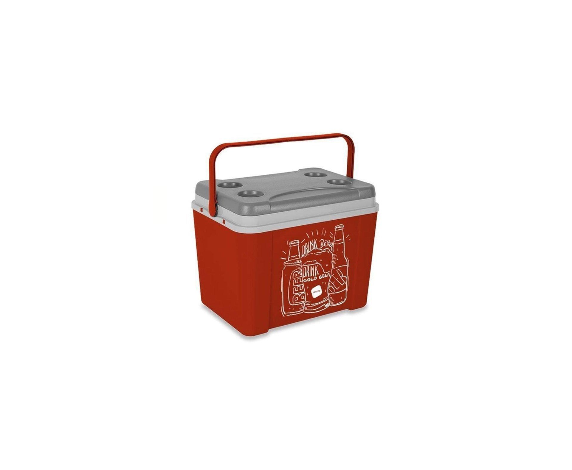 Caixa Térmica Lavita 34l Vermelha Desenho Beer