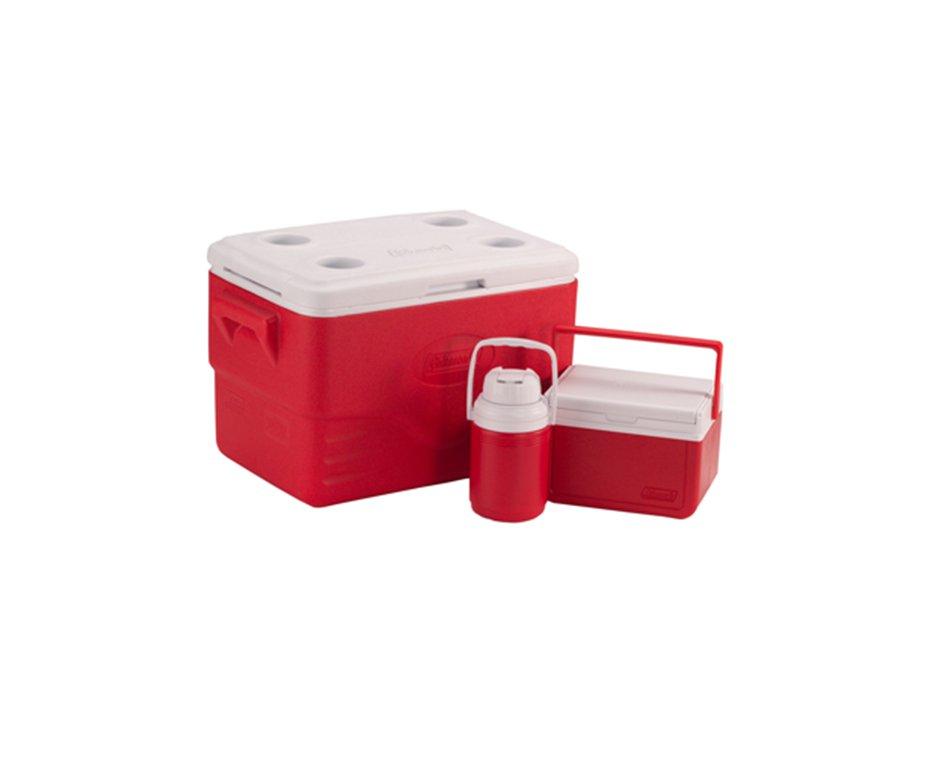 Combo Caixa Térmica 36 Qt (caixa 34 L + Garrafa 1,2 L + Caixa 5 L) Vermelho - Coleman