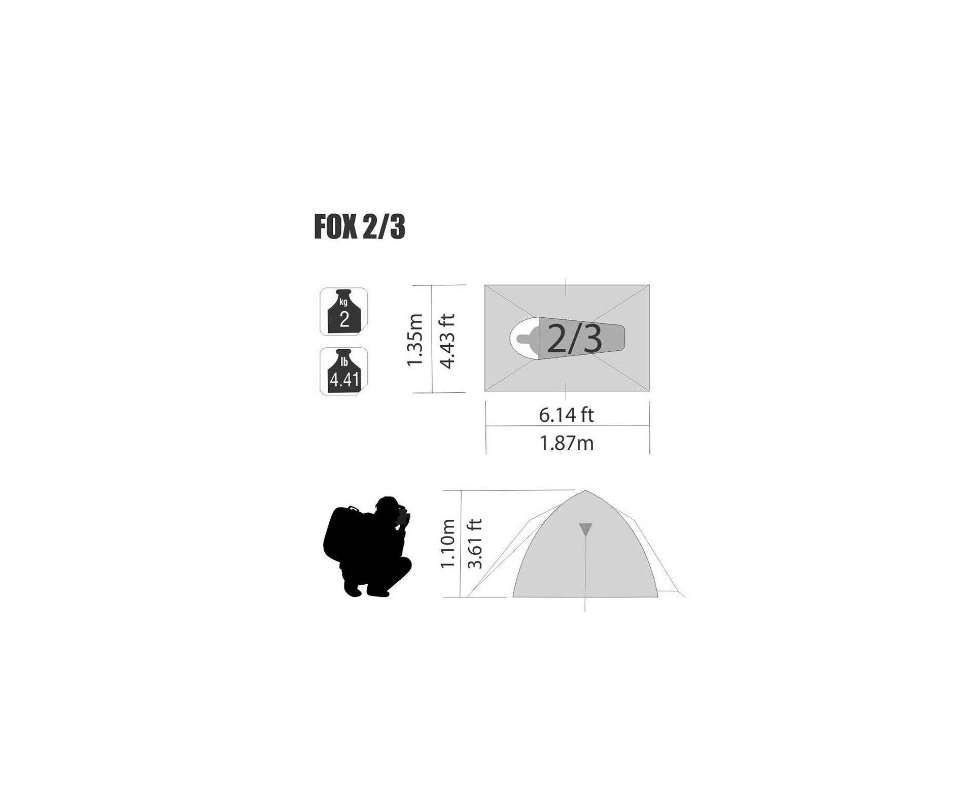 Barraca Para Camping Fox 2/3 Ntk Até 3 Pessoas Com 800 Mm De Coluna D'água Fácil De Armar