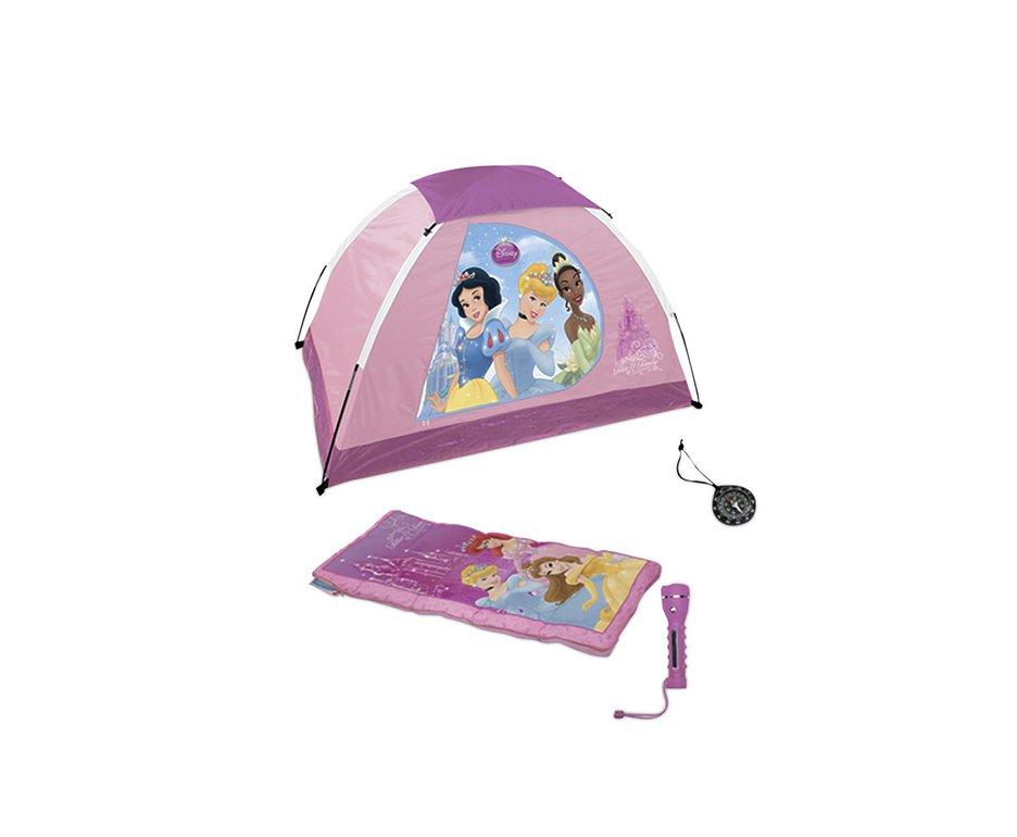 Barraca Infantil - Kit Acampamento - Lanterna + Saco De Dormir + Bússola - Princesas - Echolife