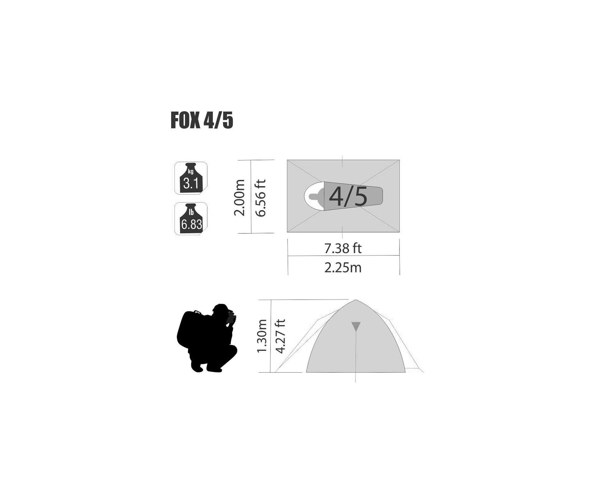 Barraca Para Camping Fox 4/5 Ntk Até 5 Pessoas Com 1800 Mm De Coluna D'água Fácil De Armar