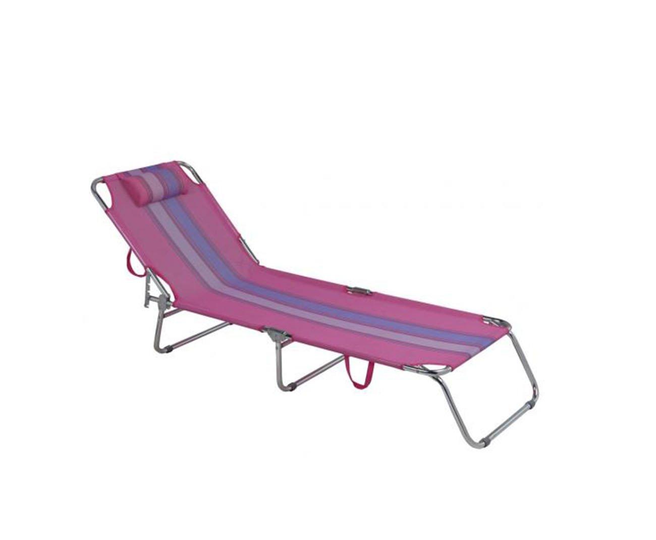 Cadeira Espreguiçadeira Em Alumínio Com Travesseiro Praia Piscina 4 Posições Rosa - Mor