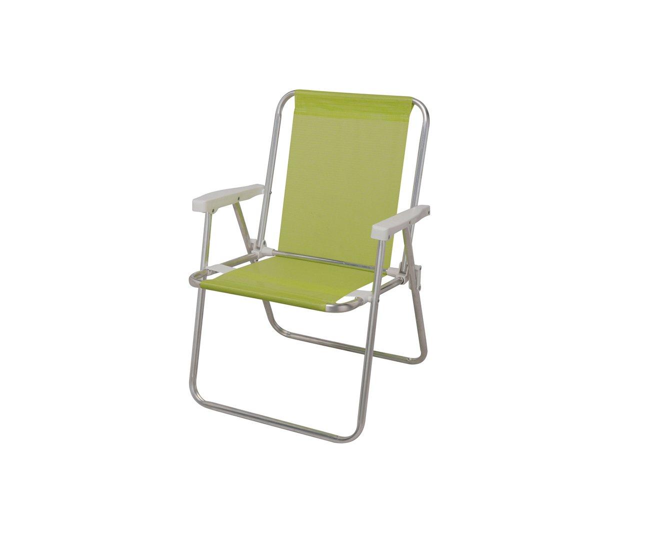 Cadeira De Praia Alta Alumínio Sannet Verde Maçã - Mor
