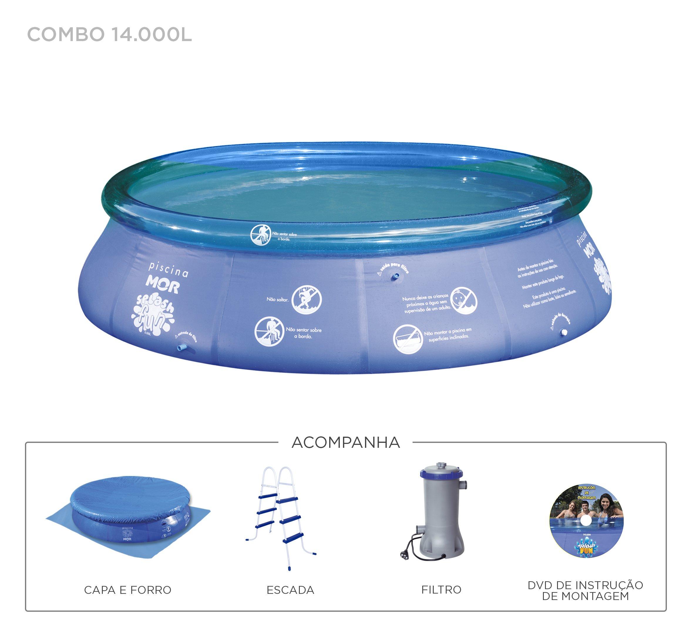 Piscina 14000l Inflavel Combo + Filtro 110v + Capa + Forro + Escada + Dvd - Mor