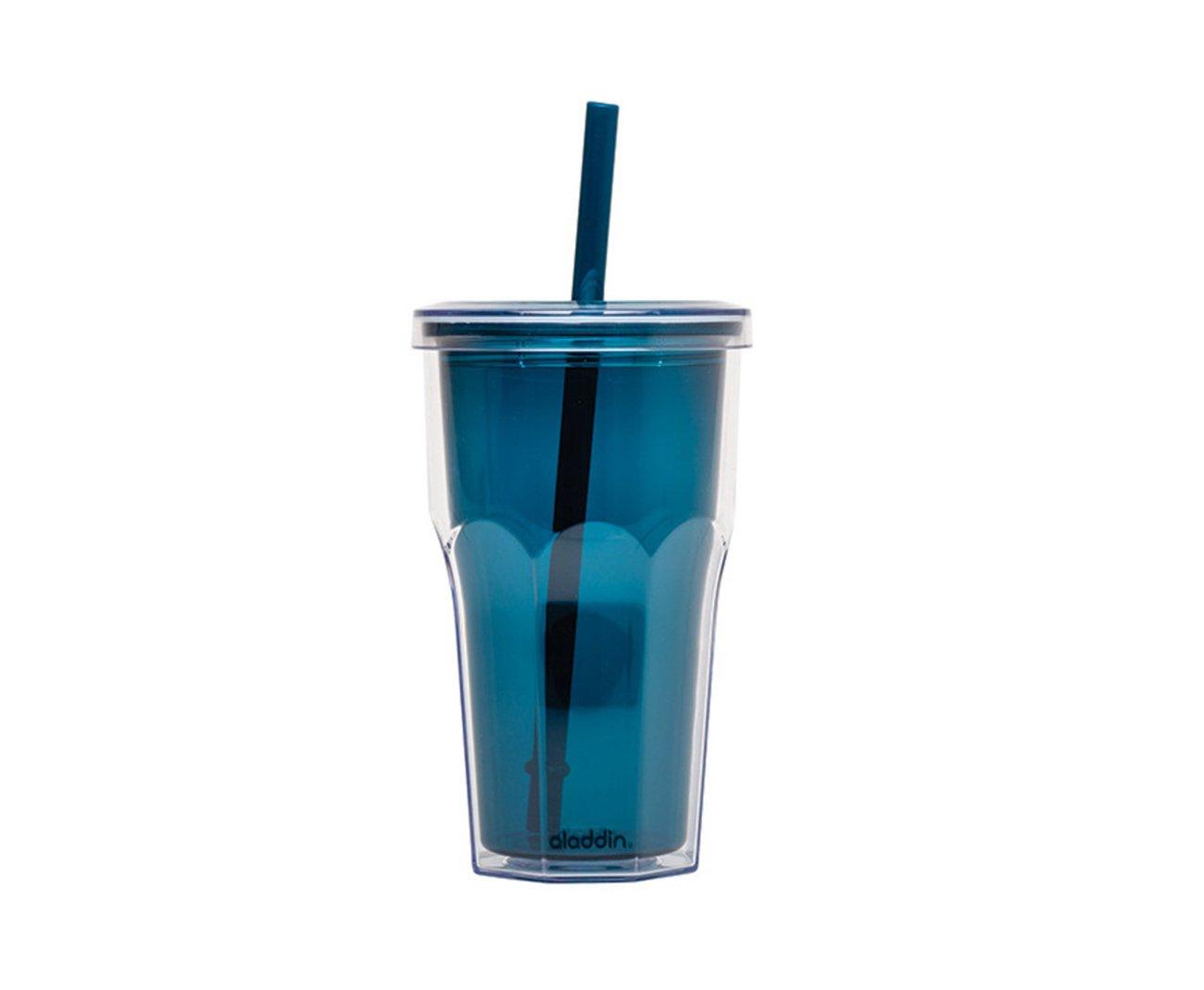 Copo Térmico Com Canudo 473ml Azul - Alladin