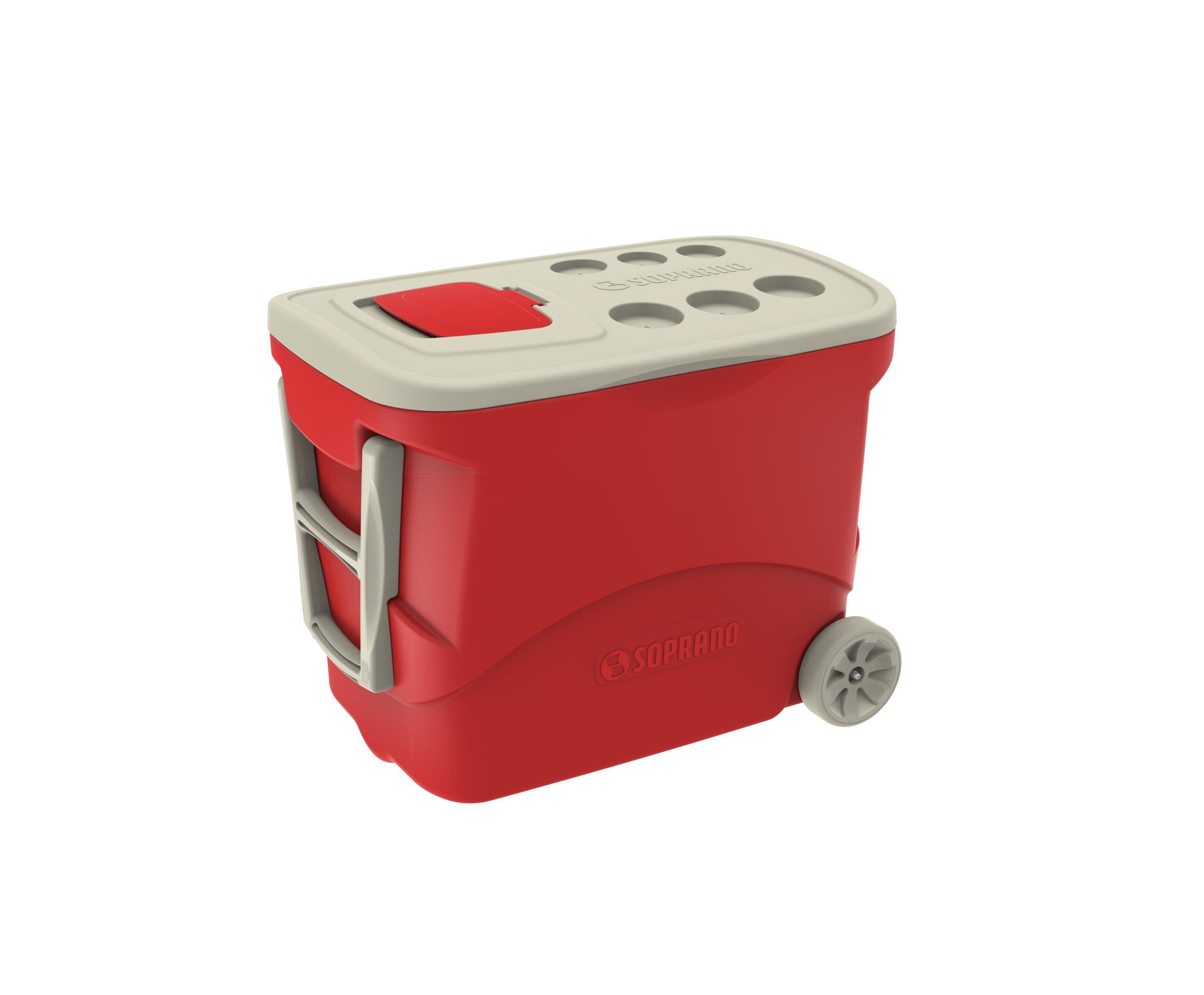 Caixa Termica Tropical C/ Rodas 50l Vermelha - Soprano