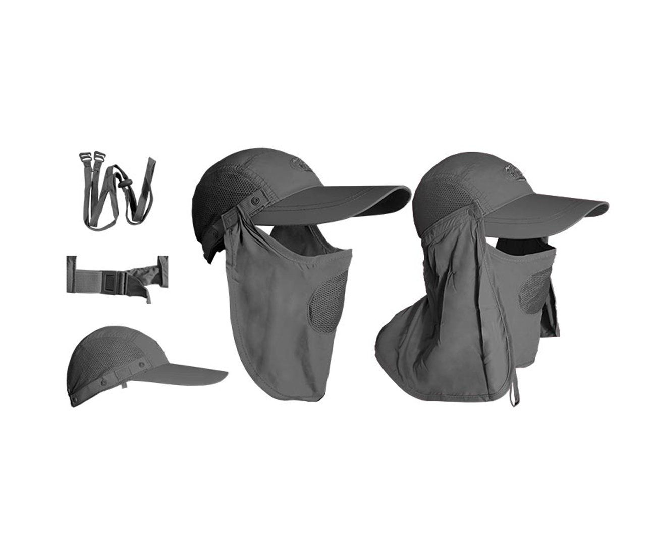 Boné Albatroz Camp C/ Proteção De Pescoço E Rosto Cinza Escuro - Albatroz