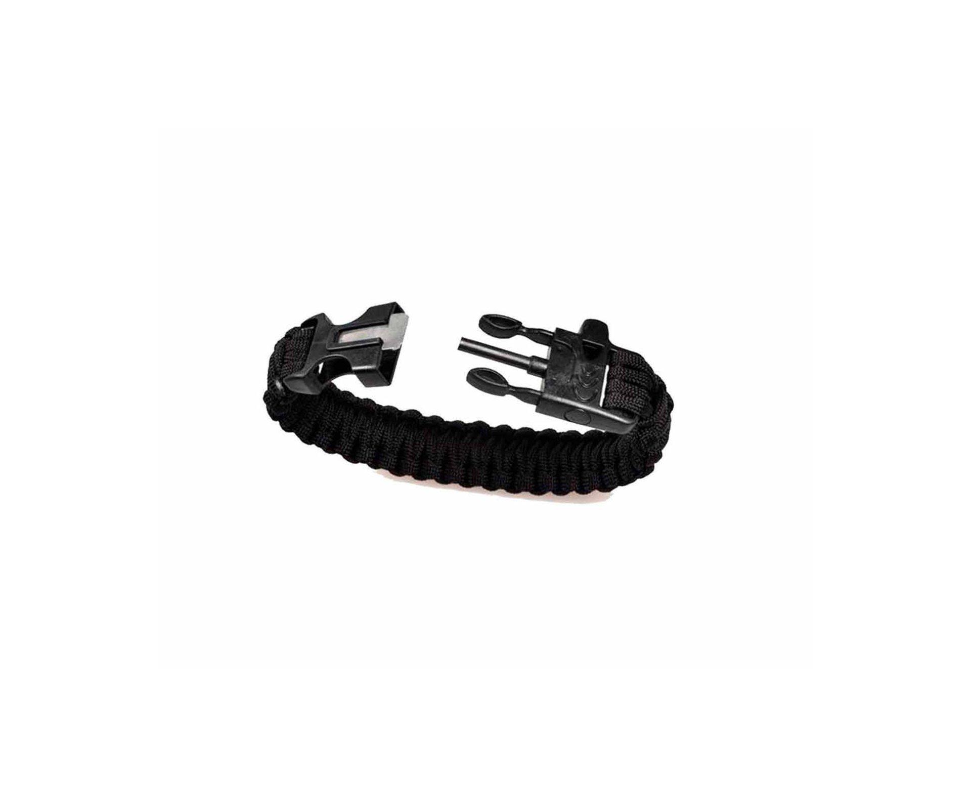 Bracelete Survivor C/ Apito E Pederneira 4-preto - Treme Terra