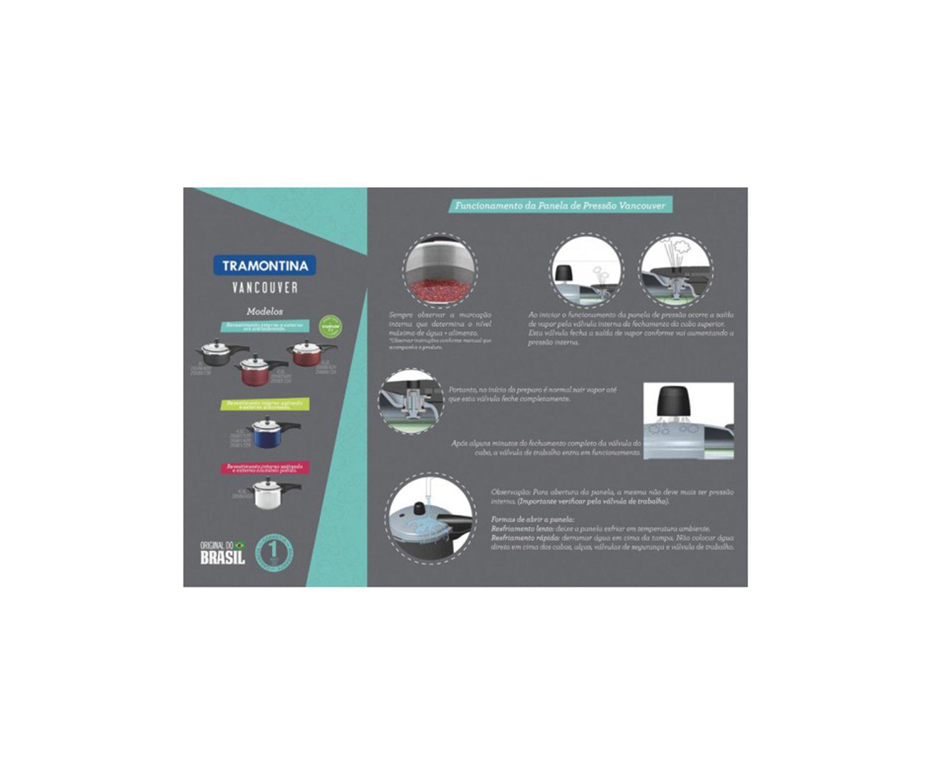 Panela De Pressão 6,0l Vancouver Aluminio Com Revestimento Antiaderente - Tramontina
