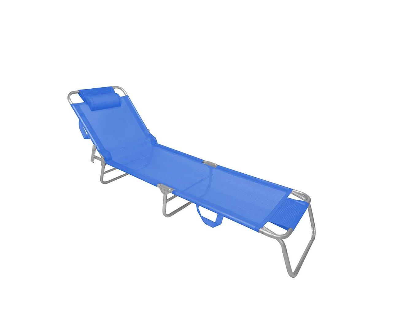 Espreguiçadeira Aluminio Zaka Slim Azul Capacidade 100kg