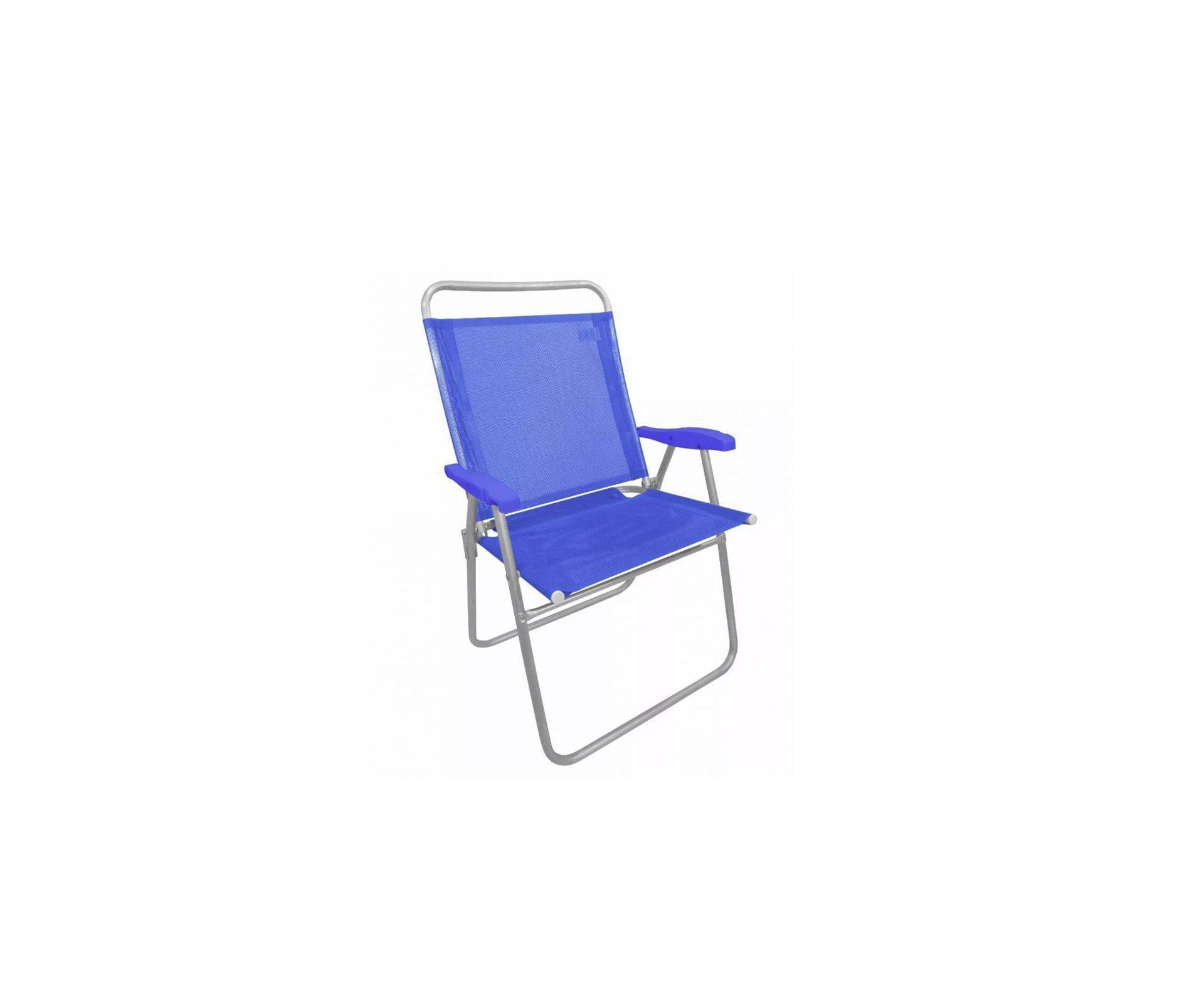 Cadeira De Praia Em Aluminio Zaka King Azul Capacidade 140kg