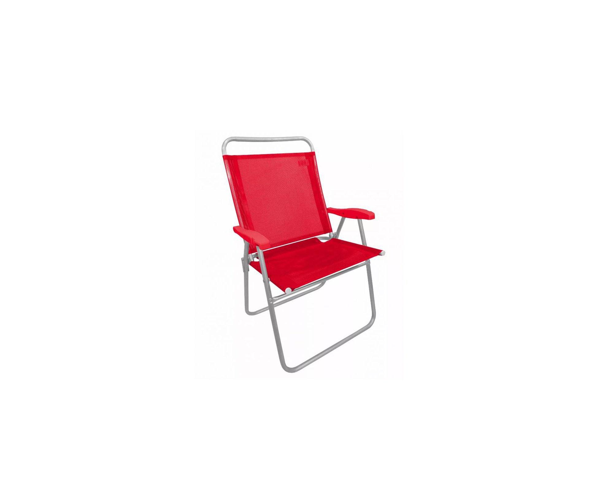 Cadeira De Praia Em Aluminio Zaka King Vermelho Capacidade 140kg