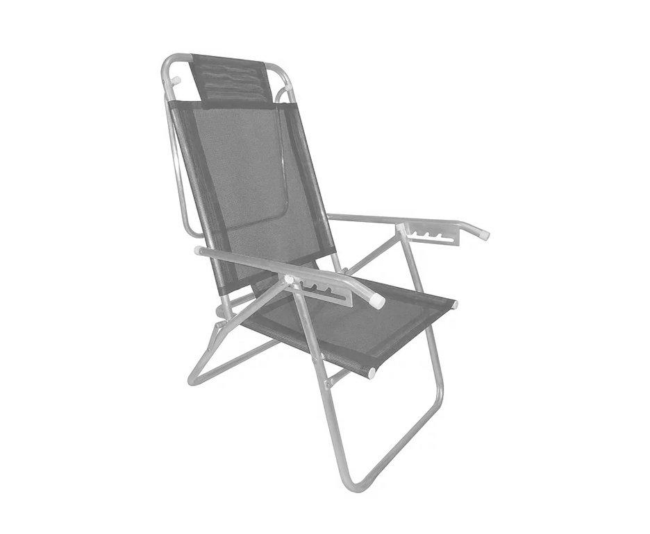 Cadeira Reclinavel Zaka Em Aluminio 5 Posições Infinita Up Cinza