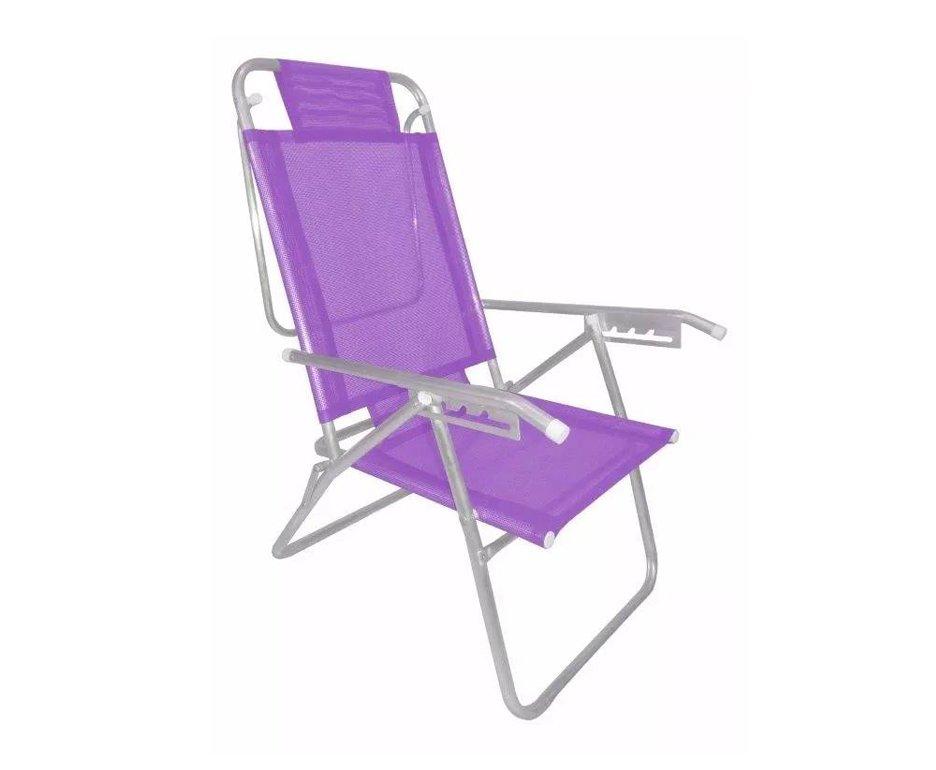 Cadeira Reclinavel Zaka Em Aluminio 5 Posições Infinita Up Lilas