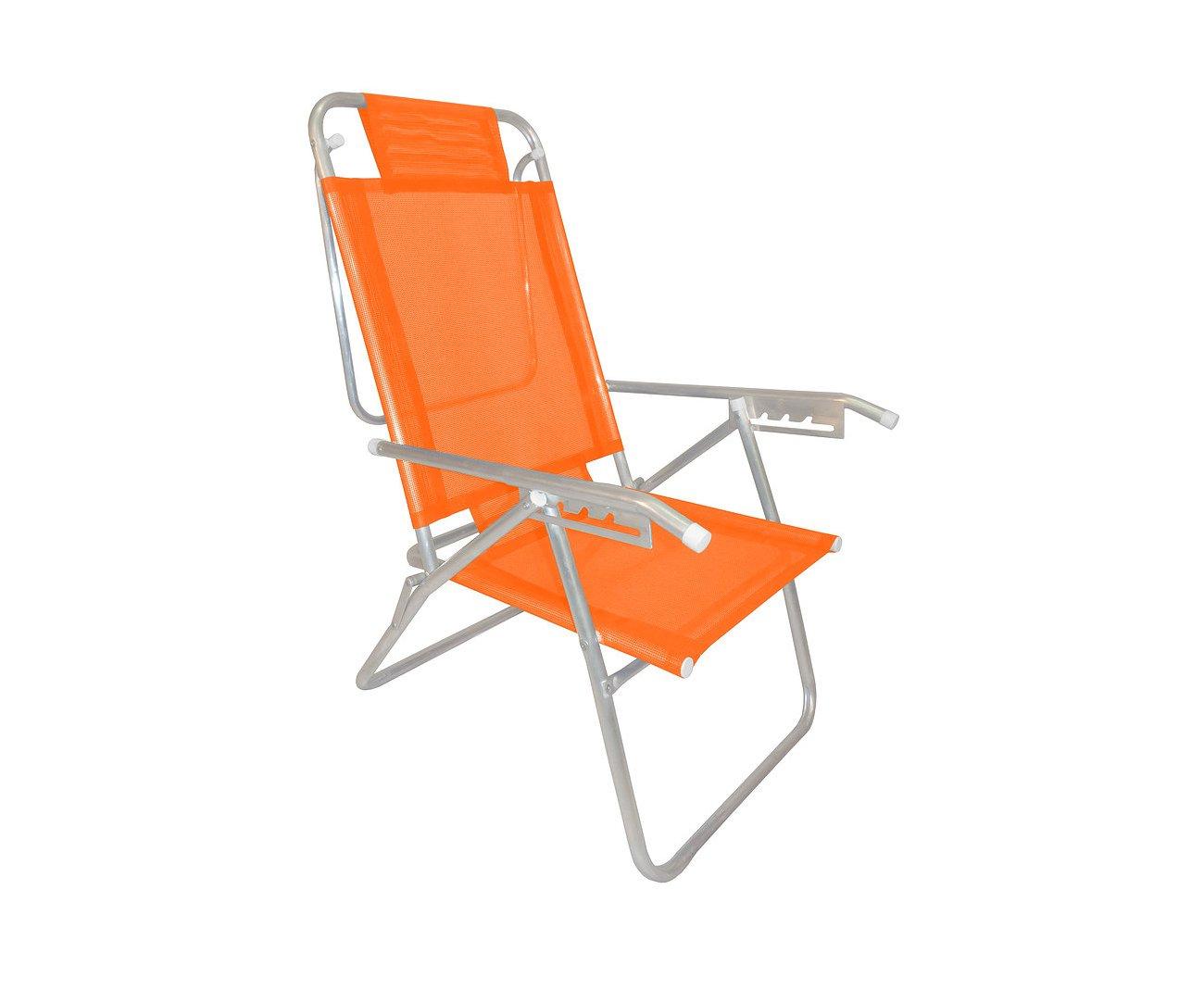 Cadeira Reclinável Zaka Em Alumínio 5 Posições Infinita Up Laranja