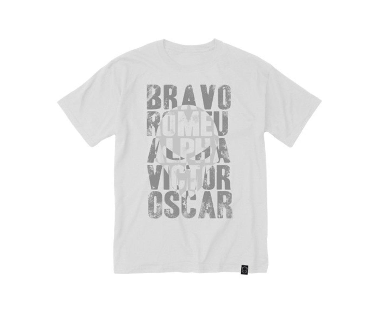 Camiseta Bravo Estampada Airsoft Alfabeto Branca