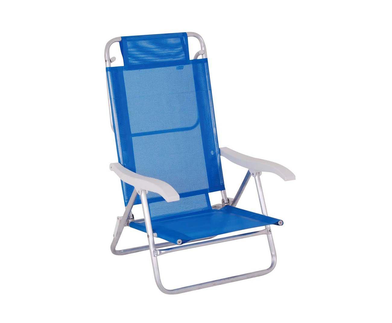 Cadeira Reclinavel De Praia Aluminio Mor Fashion - Azul