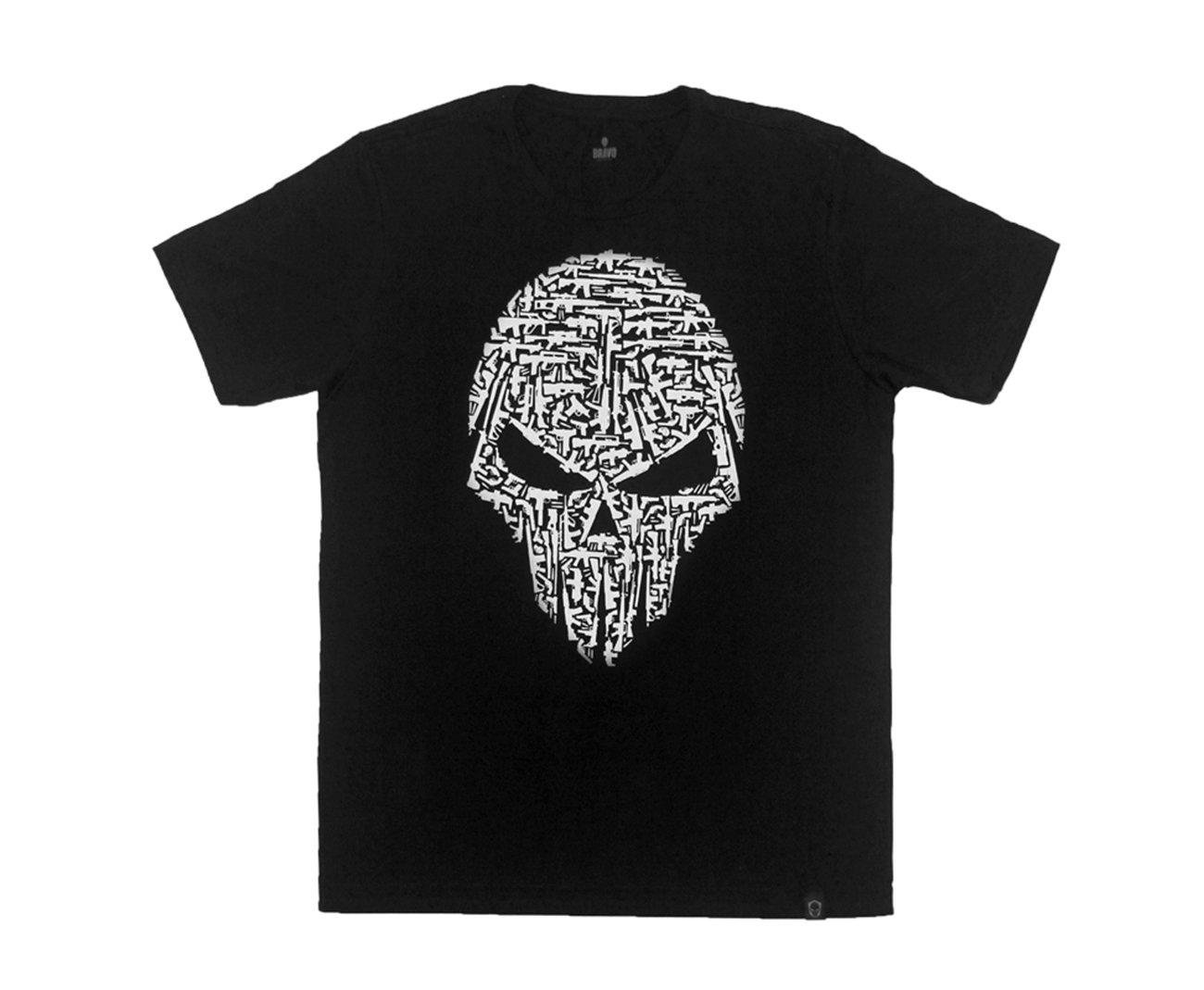 Camiseta Estampada Caveira Com Armas - Bravo